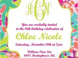 Lilly Pulitzer Birthday Invitations Lilly Pulitzer Inspired Invitation Printable Digital