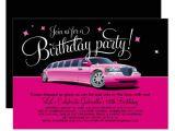 Limo Birthday Party Invitations Birthday Party Invitation Pink Limousine Zazzle Com