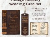 Literary themed Wedding Invitations Vintage Literary Wedding Card Set Invitation Save the Date