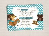 Little Buckaroo Baby Shower Invitations Items Similar to Teal Little Buckaroo Cowboy Baby Shower