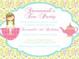 Little Girl Tea Party Invitation Ideas Tea Party Birthday theme Printable Invitation and Gift Favor