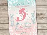 Little Mermaid Bridal Shower Invitations Printable Mermaid Baby Shower Invitations Shabby Chic