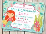 Little Mermaid Pool Party Invitations Items Similar to Mermaid Invitation Pool Party Little