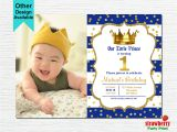 Little Prince First Birthday Invitation Prince Birthday Invitation Royal Blue Gold Birthday