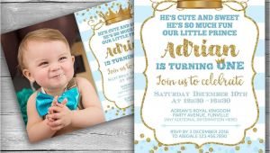 Little Prince First Birthday Invitation Prince Invitation Little Prince First Birthday Boy