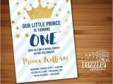 Little Prince First Birthday Invitation Printable Navy Blue and Gold Little Prince Birthday