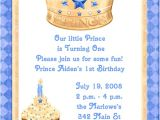 Little Prince First Birthday Party Invitations Blue Prince 1st Birthday Party Invitations