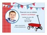 Little Red Wagon Birthday Party Invitations Little Red Wagon Birthday Party Invitations