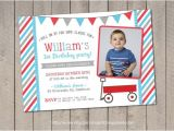 Little Red Wagon Birthday Party Invitations Red Wagon Birthday Invitation Red Wagon Invitation Little