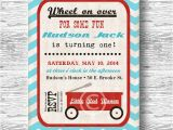 Little Red Wagon Birthday Party Invitations Vintage Little Red Wagon Baby Shower Invitation Boys Baby