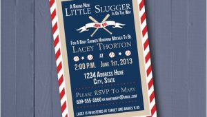 Little Slugger Baby Shower Invitations Baseball Invitation Little Slugger Baby Shower Invitation