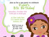 Little Spa Party Invitations Diy Sassy Spa Party Invitation African American Little Girl