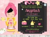 Little Spa Party Invitations Little Girl Spa Party Invitations Pink Bokeh