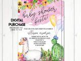 Llama Baby Shower Invitations Fiesta Baby Shower Invitation Llama Baby Shower Invitation