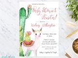 Llama Baby Shower Invitations Llama Baby Shower Invitation Baby Shower Invite Cactus