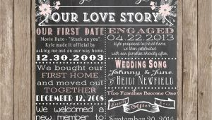 Love Story Wedding Invitation Template Chalkboard Love Story Printable Poster Shabby Chic Wedding