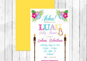 Luau themed Baby Shower Invitations Luau theme Baby Shower Invitation or Evite by Lemonberrymoon