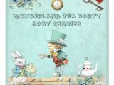 "Mad Hatter Tea Party Baby Shower Invites Mad Hatter Wonderland Tea Party Baby Shower 5 25"" Square"