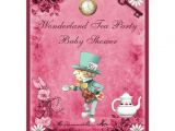 Mad Hatter Tea Party Baby Shower Invites Pink Mad Hatter Wonderland Tea Party Baby Shower