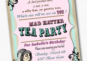 Mad Hatter Tea Party Invitation Template Free Mad Hatter Template Invitation