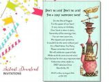 Mad Hatter Tea Party Invitations Free Printable Mad Hatter Invitation Birthday Tea Party Printable