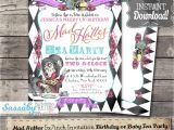 Mad Hatter Tea Party Invitations Free Printable Mad Hatter Tea Party Invitation Instant Download