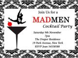Mad Men Party Invitations Mad Men Inspired Birthday Cocktail Party event Invitation