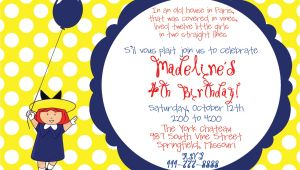 Madeline Birthday Party Invitations Madeline Birthday Party Invitation