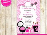 Makeup Party Invitations Free Glamour Invitation Girl Birthday Party Makeup Invite
