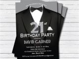 Male 21st Birthday Party Invitations 21st Birthday Invitation Man Black Tie and Suit Diamond