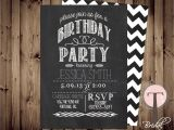 Male 21st Birthday Party Invitations Chalkboard Birthday Invitation Birthday Invitation Elegant