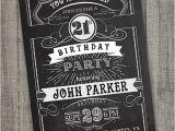 Male 21st Birthday Party Invitations Vintage Retro Birthday Invitation Printable Chalkboard