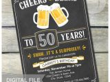 Male 50th Birthday Invitation Ideas Surprise 50th Birthday Chalkboard Invitation Cheers