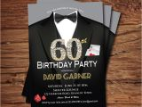 Male Birthday Invitation Casino 60th Birthday Invitation Adult Man Birthday Party