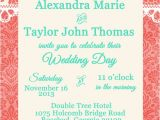 Malibu Blue Bridal Shower Invitations Coral and Malibu Blue Wedding or Bridal Shower Invitation with