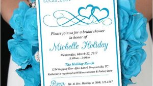 Malibu Blue Bridal Shower Invitations Heart Bridal Shower Invitation Template Heart Wedding Shower