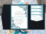 Malibu Blue Bridal Shower Invitations Pocket Fold Wedding Invitations Kaitlyn Malibu Blue Black