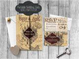 Marauders Map Wedding Invitations Custom Harry Potter Inspired Marauders Map Wedding