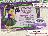 Mardi Gras Baby Shower Invitations Girls Baby Shower Invitations Girl Mardi Gras by