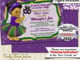 Mardi Gras Baby Shower Invitations Girls Baby Shower Invitations Mardi Gras Green Purple Tutu