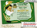 Mardi Gras Baby Shower Invitations Mardi Gras Baby Shower Invitations Boys Green and Gold