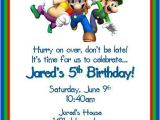 Mario Birthday Invitations Free Super Mario Brothers Personalized Birthday by