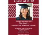 Maroon and White Graduation Invitations Chevron Photo Graduation Invitation Maroon White 5 Quot X 7