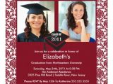 Maroon and White Graduation Invitations Maroon White Damask Photo Graduation Invitation 5 25