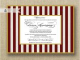 Maroon and White Graduation Invitations Maroon White Graduation Invitation Stripes with Gold Party