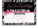 Mary Kay Party Invitation Postcards Mary Kay Zebra Party Invitation