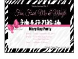 Mary Kay Party Invites Mary Kay Zebra Party Invitation