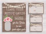 Mason Jar Bridal Shower Invitations with Recipe Cards Rustic Mason Jar Recipe Cards and Sign Bridal Recipe Card