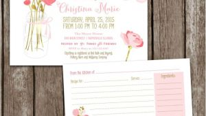 Mason Jar Bridal Shower Invitations with Recipe Cards Sale Digital Printable Mason Jar Bridal Shower