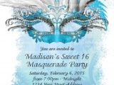 Masquerade Ball Birthday Party Invitations Diy Ice Blue Masquerade Ball Invitation Sweet 16 Party